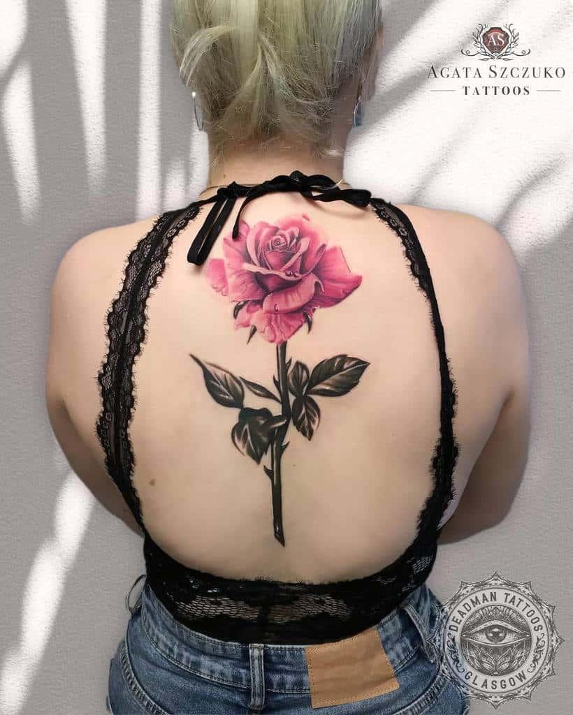 back rose with stem tattoos agata.szczuko.tattoos