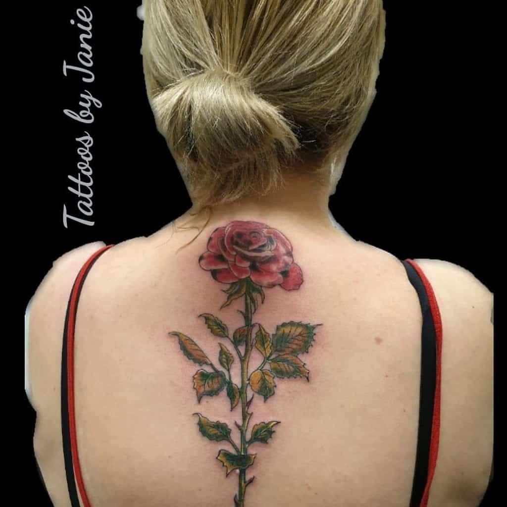 back rose with stem tattoos theblackhearttattoostudio