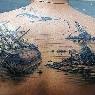 Back Sailor Ship Tattoos For Men