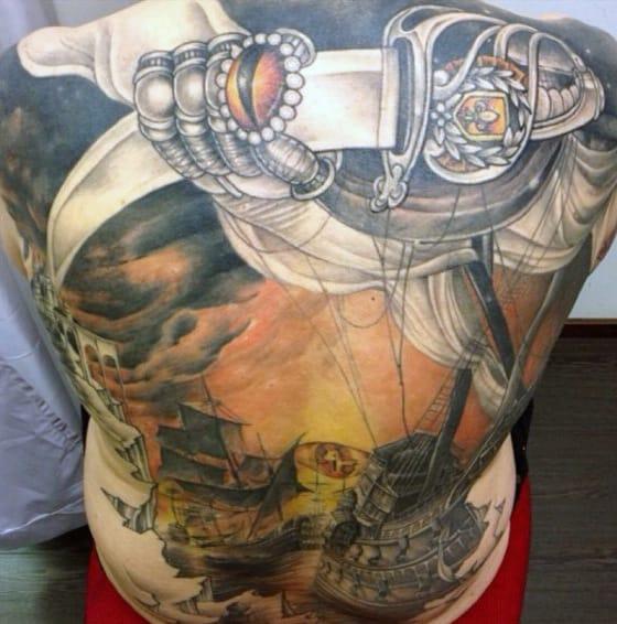 Back Samurai Sword Tattoos For Men