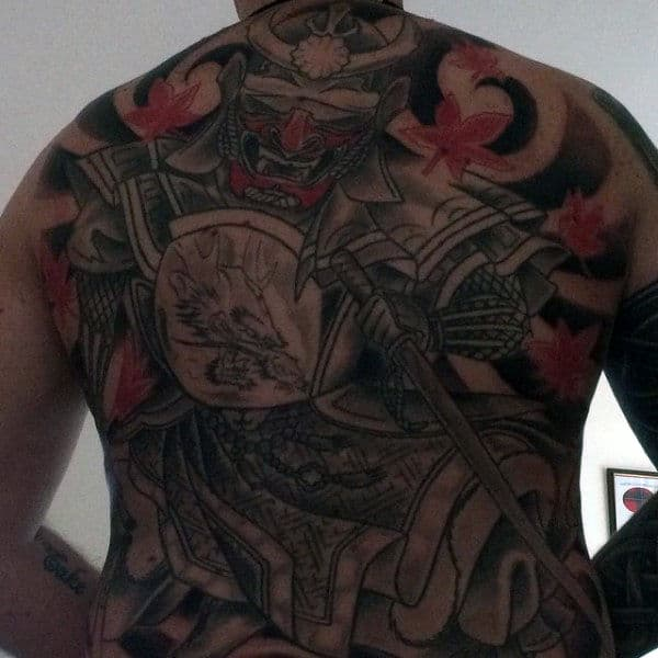 Back Samurai Tattoo Designs For Men