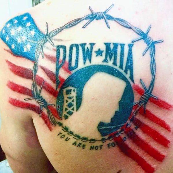 Back Shoulder Mens Pow Mia Tattoo Design Inspiration