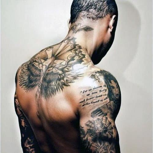 Back Shoulder Quote Tattoos For Guys
