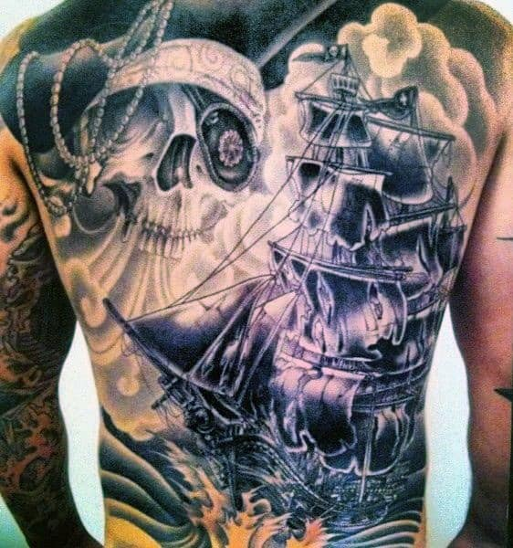 Skull And Ship Back Shoulder Tattoos For Men