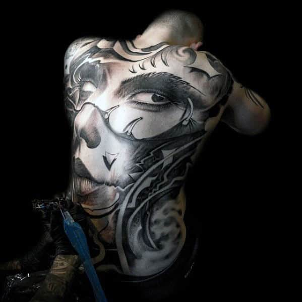 Portrait Back Tattoo For Men