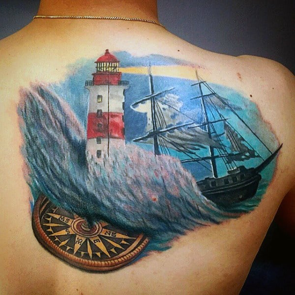 Back Tattoo With Water For Men