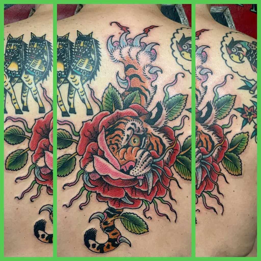 back tiger rose tattoos timlehi