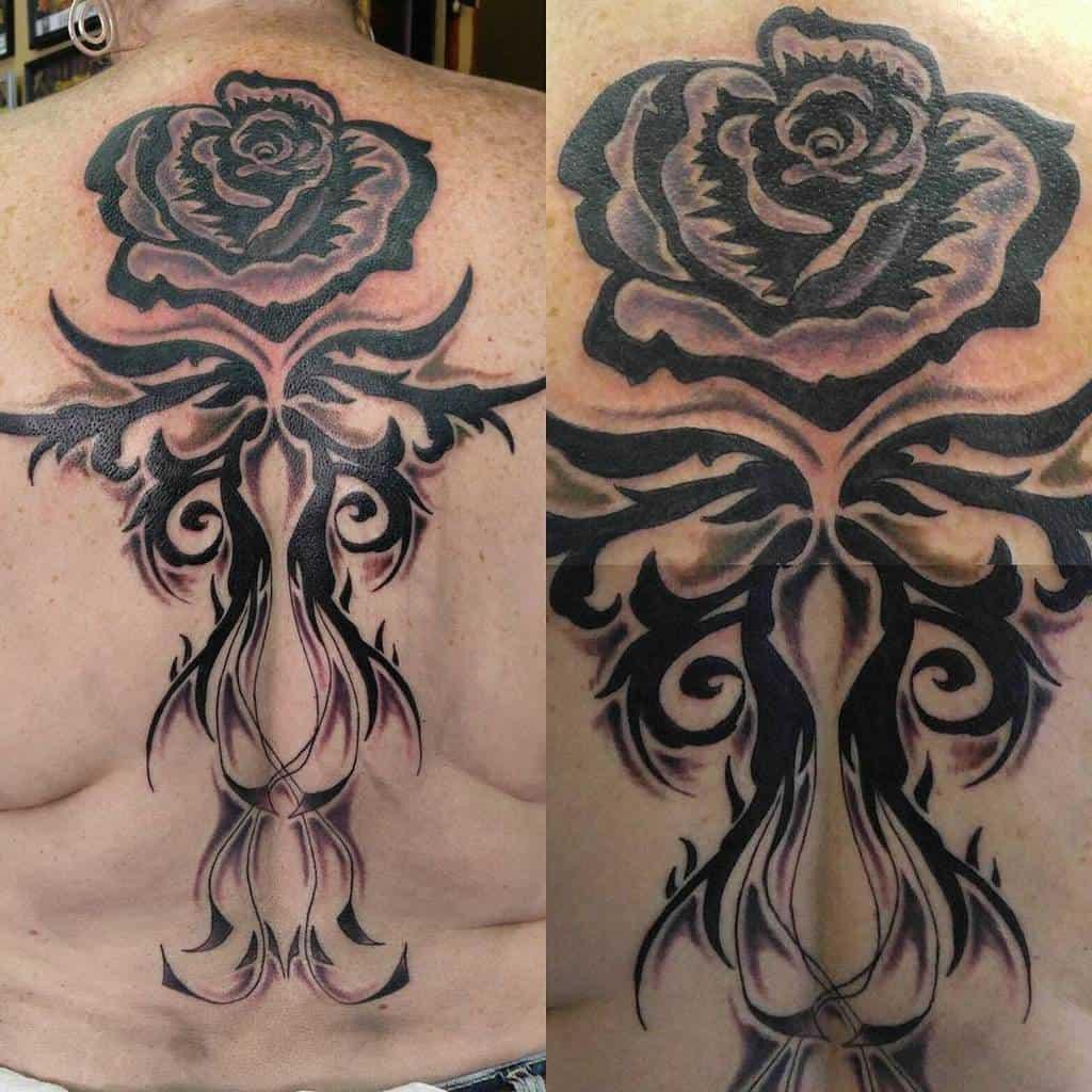 back tribal rose tattoos tatsbycassidy