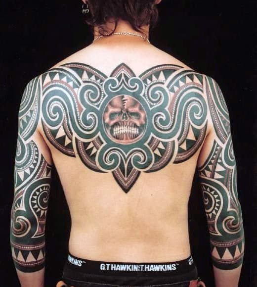 Back Tribal Tattoo On Man