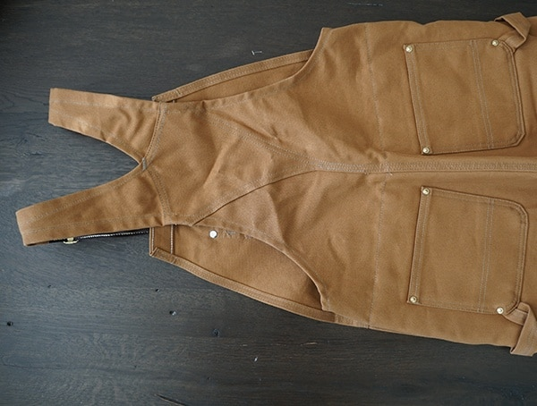 Back View Carhartt Quilt Lined Zip To Thigh Bib Overalls For Men