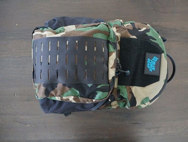 Backpack Front Woodland Camo Blue Force Gear Tracer