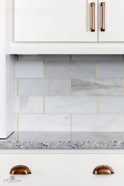 Backsplash Tile For Kitchens With Gold Grout Coloring