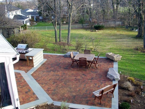 Backyard Brick Patio Design With Concrete Border