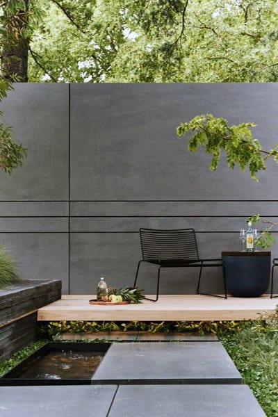 Backyard Concrete Grey Fence Ideas