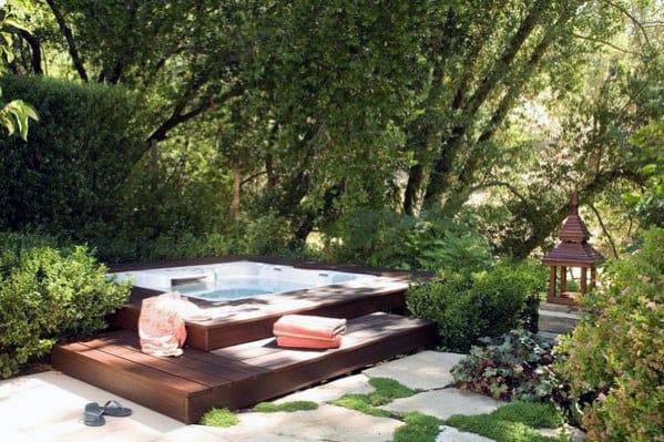 Backyard Cool Hot Tub Deck