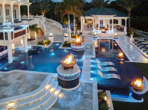 Backyard Cool Pool Lighting Design Ideas