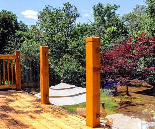 Backyard Deck Railing Design Wood Posts With Glass Panels
