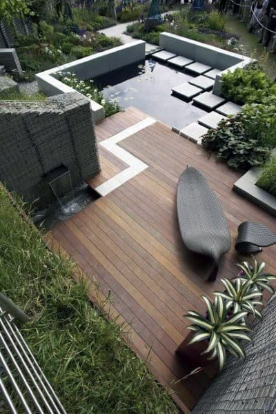Backyard Deck With Pond And Water Feature Ideas