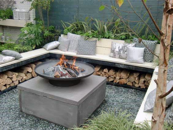 Backyard Designs Fire Pit Seatings With Built In Firewood Storage