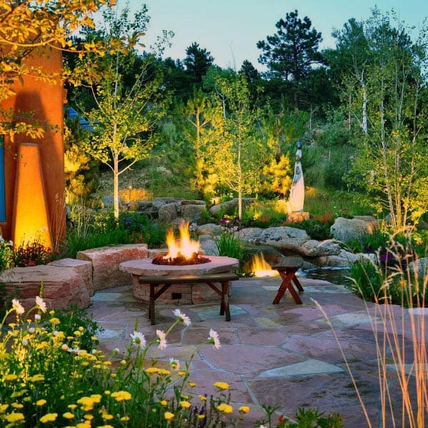 Backyard Designs Flagstone Patio With Fire Pit