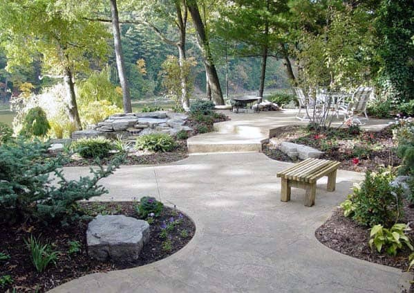 Top 60 Best Concrete Walkway Ideas - Outdoor Path Designs on Backyard Pathway Ideas id=20728