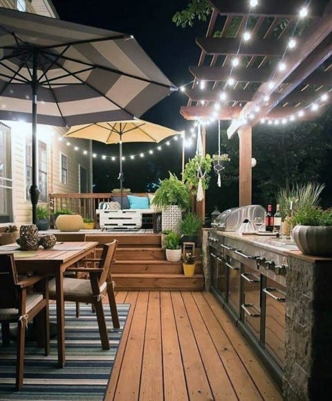 Backyard Designs Patio Deck String Lights With Built In Bbq Grill