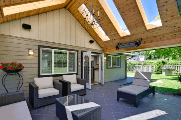Merveilleux Backyard Designs Patio Roof With Wood Ceiling And Skylights