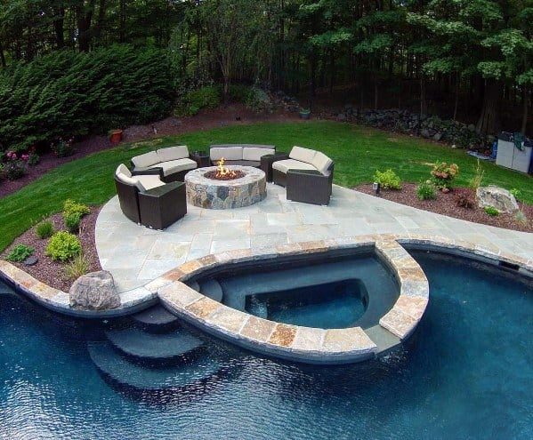 Backyard Designs Pool Landscaping With Stone Firepit