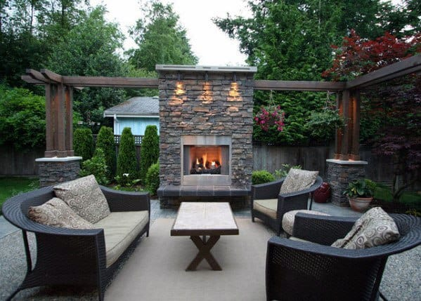 Top 60 Best Patio Fireplace Ideas - Backyard Living Space ... on Small Outdoor Fireplace Ideas id=59602