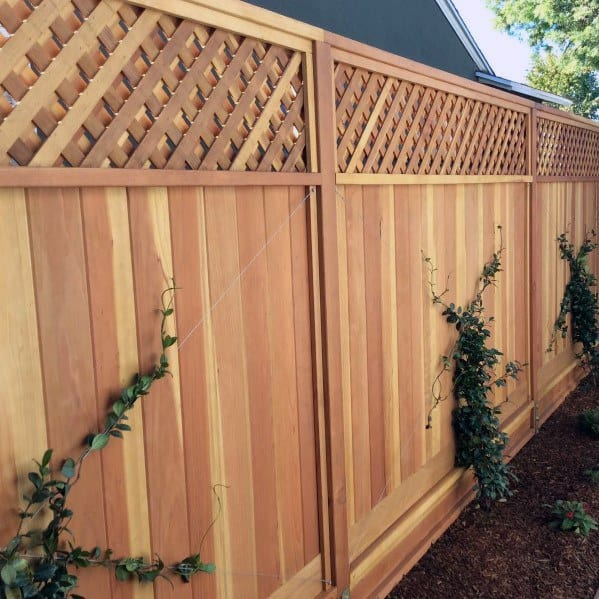 Backyard Designs Wooden Fence With Lattice Top