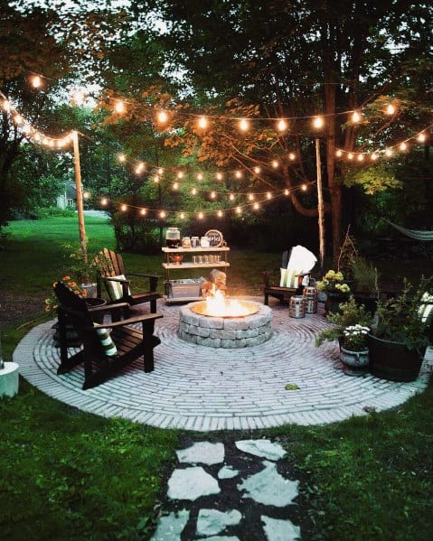 Backyard Fire Pit Circle Patio String Light Design
