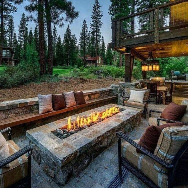 Backyard Fire Pit Seating Design Rustic Stone