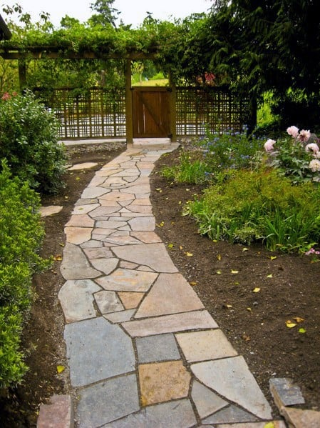 Backyard Flagstone Walkway Cool Outdoor Ideas