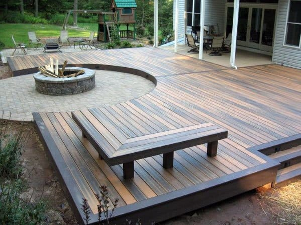 Backyard Floating Deck Design With Fire Pit Stone Patio