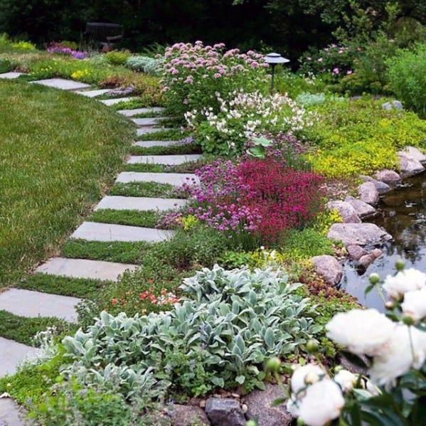 Backyard Garden Stone Walkway Cool Exterior Ideas
