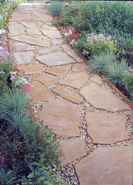 Backyard Gravel Flagstone Walkway Path For Garden