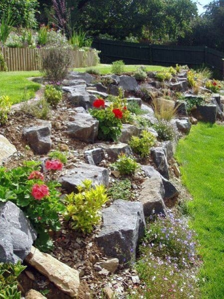 Backyard Hill Ideas Slope Landscaping Boulders