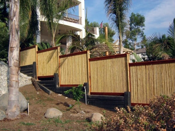 Backyard Hill Slope Designs Bamboo Fence