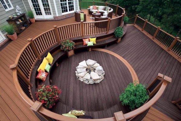 Backyard Ideas Composite Deck Fire Pit With Seating