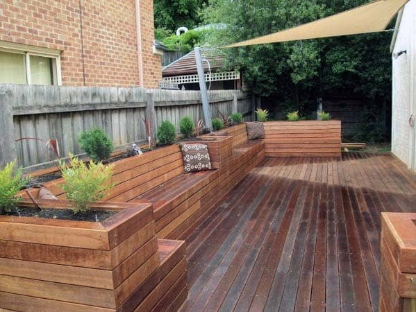 Backyard Ideas Deck Bench Wood With Planters