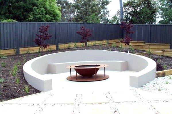 Backyard Ideas Fire Pit Seating Curved Concrete