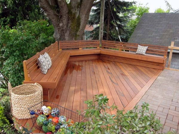 Backyard Ideas For Deck Bench Curved