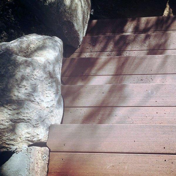 Backyard Ideas For Deck Steps Cut Around Rock Border