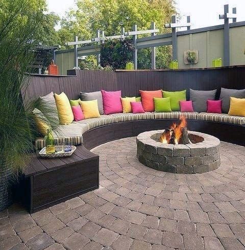Backyard Ideas For Fire Pit Seating Curved Composite Wood