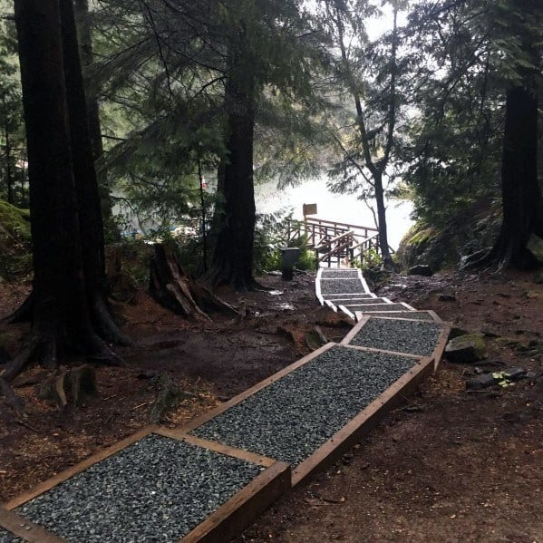 Backyard Ideas For Gravel Walkway With Wood Retaining Beams