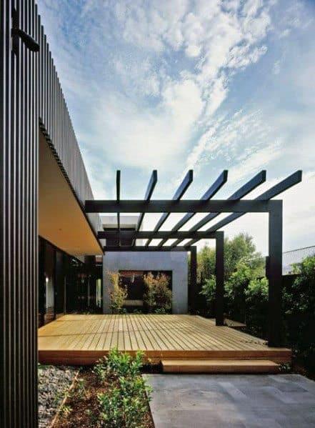 Backyard Ideas For Modern Deck With Steel Pergola
