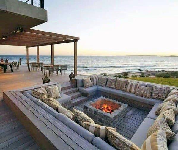 Backyard Ideas For Sunken Lounge Deck Fire Pit