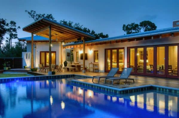 Backyard Ideas Patio Roof With Large Pool