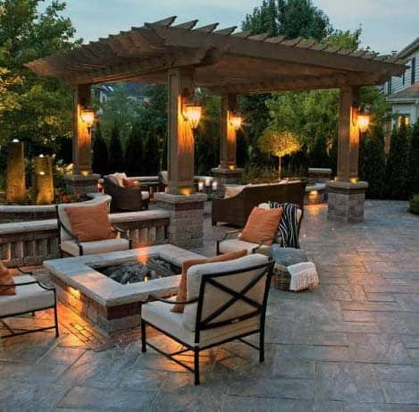 Backyard Ideas Stamped Concrete Patio With Covered Wood Pergola