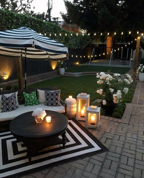 Backyard Ideas Stone Patio String Lighting